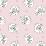 Disney Tinkerbell Floral Frame on Light Pink Fabric
