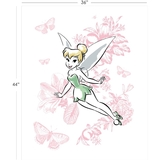 Disney Tinkerbell Floral on White Fabric Panel