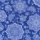 Dutchess Metallic Medallions On Blue Fabric