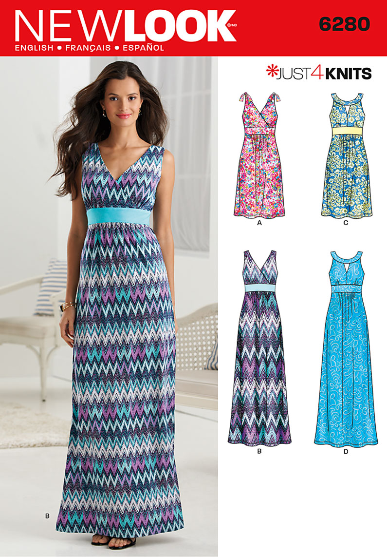 New Look Misses Knit Dress in Two Lengths with Bodice Variations ...
