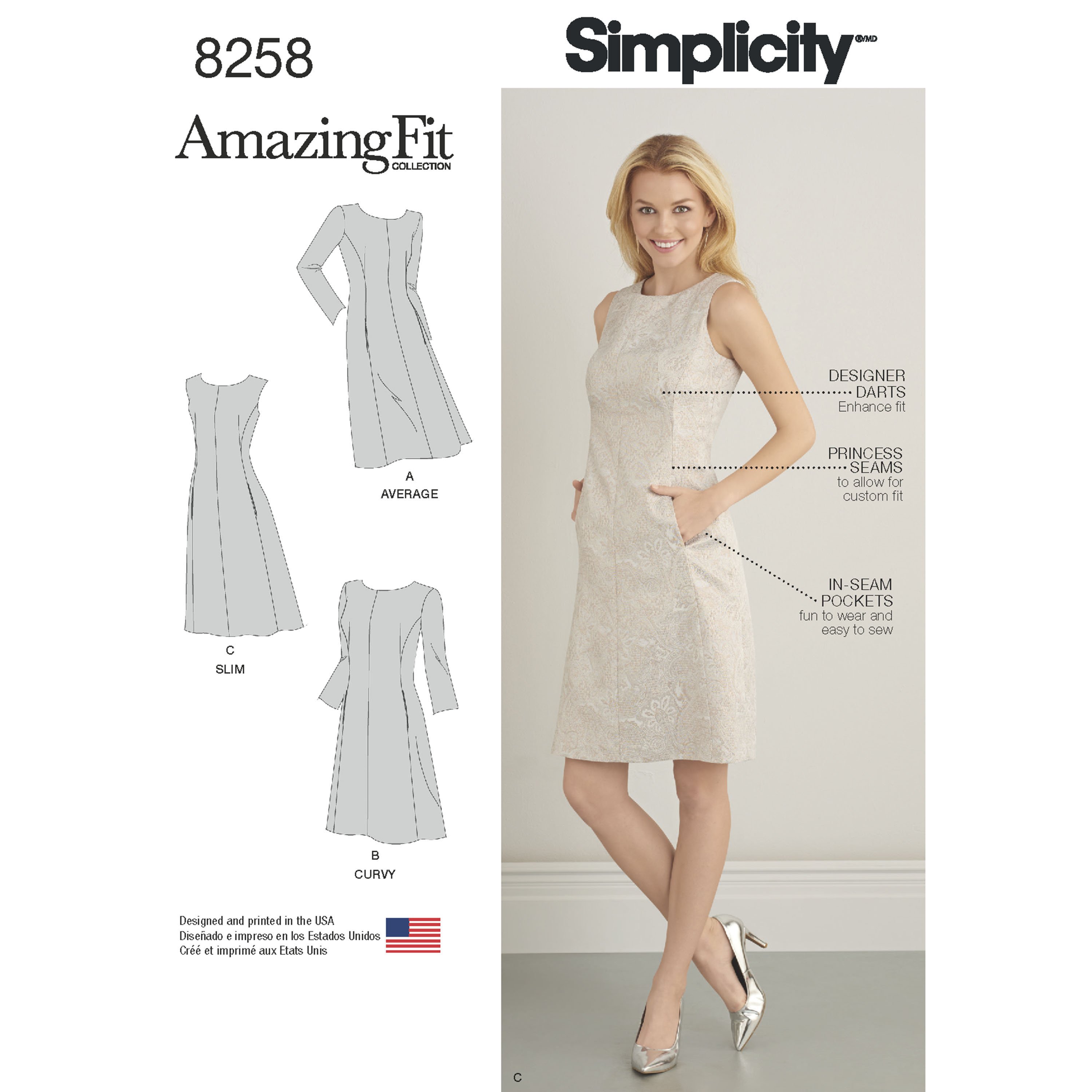 Simplicity Pattern 8258 Misses and Plus Size Amazing Fit Dress, Size BB (20W-28W)