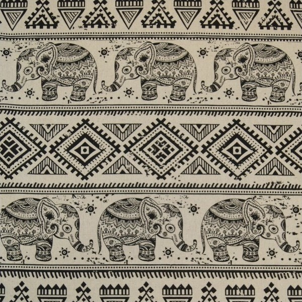 Elephants & Aztec Tribal Pattern on Beige Fabric For Craft & Bag Making