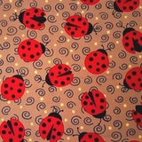 Esme Ladybugs on Light Brown Fabric