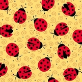 Esme Ladybugs on Yellow Fabric