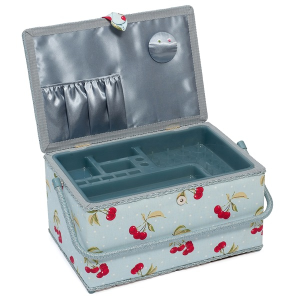 Extra Large Cherry Spot On Light Blue Sewing Basket