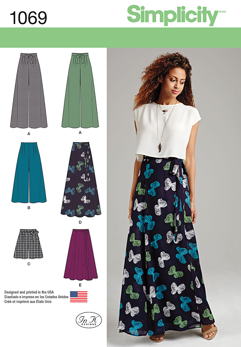 Simplicity Misses Wide Leg Pants or Shorts & Skirts in 2 Lengths, Size P5 (12-14-16-18-20)