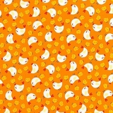 Farm Chickens on Orange Fabric