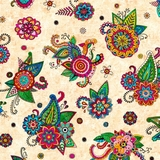 Fiorella Multi Tossed Floral on Cream Fabric