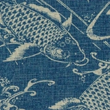 Fishes on Denim Blue Fabric