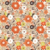 Flower Market Multi Floral on Tan Fabric