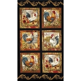 French Country Rooster Fabric Panel