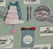 French Patisseries on Green Fabric For Craft & Bag Making