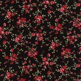 Fuchsia Floral Vines on Black Fabric Fat Quarter