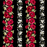 Fuchsia Poppy Stripes on Black Fabric