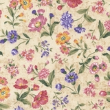 Grateful Heart Tossed Floral on Beige Fabric