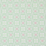 Green Decorative Floral on White 1 Metre Fabric