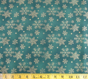 Green & Gold Snowflakes Fabric