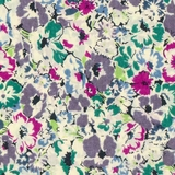 Green & Purple Floral on 100% Cream Lawn Fabric
