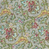 Green & Red Multi Floral 100% Lawn Fabric