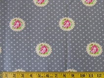 Grey Flowers and Polka Dots Fabric Cut, Single 145 x 110cm