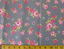 Grey Flowers Fabric Cut 6245, Single 145 x 110cm