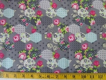 Grey Patchwork Flowers Fabric Cut, Single 145 x 110cm