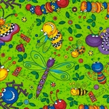 Happy Cartoon Bugs in Lime Fabric