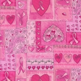 Hearts & Ribbon of Hope in Pink Fabric