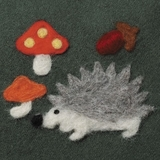 Hedgehog and Mushrooms Needle Felting Applique Mould