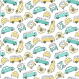 Hipster On The Go Camper Vans & Cars Fabric