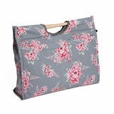 HobbyGift MR4687_190 | Craft Bag with Wooden Handles: Roses & Polka Dots on Grey