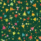 Holiday Minis Angels & Christmas Trees on Forest Green Fabric
