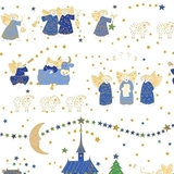 Holiday Minis Nativity on White Fabric