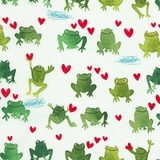 Hop To It Watercolour Green Frogs on White Fabric
