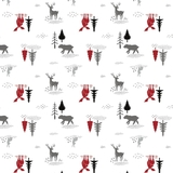 Hudson Forest Animals in Scenery on White Fabric