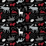 Hudson Forest Animals on Black Fabric