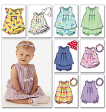 Infants' Dress, Top, Romper, Panties, Hat & Headband B3405 Size NB, S, M