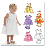 McCalls M6015/OS | Infants Lined Dresses Panties And Headband | Size (SML-MED-LRG-XLG) | Sewing Pattern