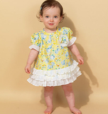 Infants' Ruffled Dresses and Panties M7307 Sizes NB, SML, MED, LRG, XLG