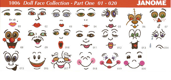 Janome 1006 Doll Face Collection Part One Embroidery Design Spares