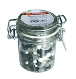 Jar of Black and White Glass Beads