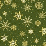 Jolly Old St Nick, Snowflakes Green Fabric