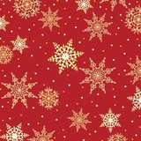Jolly Old St Nick, Snowflakes Red Fabric