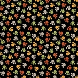 Jungle Buddies Multi Paw Prints on Black Fabric