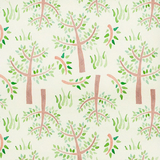 Jungle Giraffe Trees & Grass on Cream Flannel Fabric