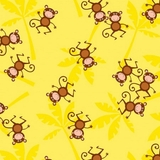 Jungle Jam Brown Monkeys On Yellow Fabric