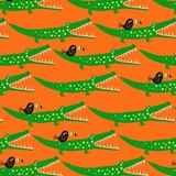 Jungle Jam Green Crocodiles On Orange Fabric