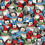 Just Chillin Dressed Penguins Multicolour Fabric