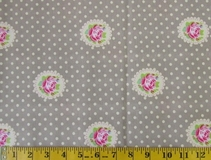 Khaki Flowers and Polka Dots Fabric Cut, Single 145 x 110cm
