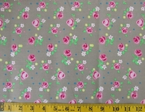 Khaki Flowers Fabric Cut 6244, Single 145 x 110cm